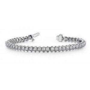 Round Diamond Tennis Bracelet Solid 4 Prong Set Wh